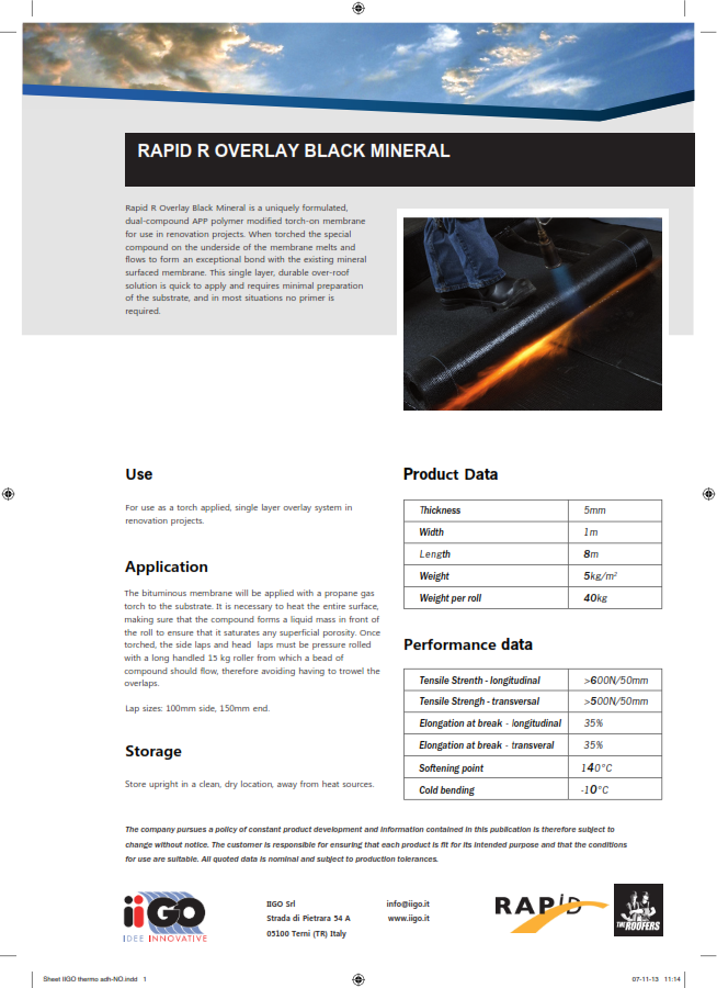 Rapid R Overlay Black Mineral Product Data Sheet Finland 001